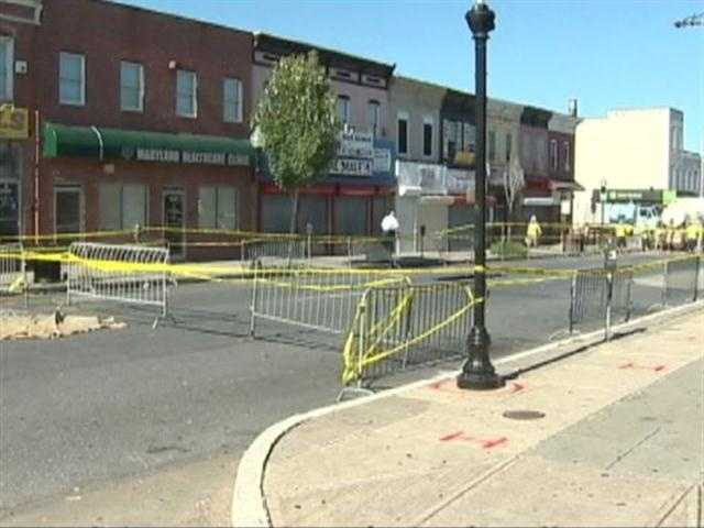 Baltimore Gas and Electric crews were called to the scene for a strong odor of gas. DPW confirmed early indications of a small gas leak as a result of the sinkhole.