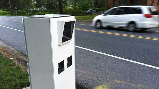 A speed enforcement camera gets vandalized for a second time near South Rolling and Brook roads.