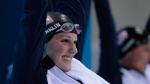 Missy Franklin wins gold in the women's 100m backstroke final and bronze in the Women's 4x100m Freestyle.
