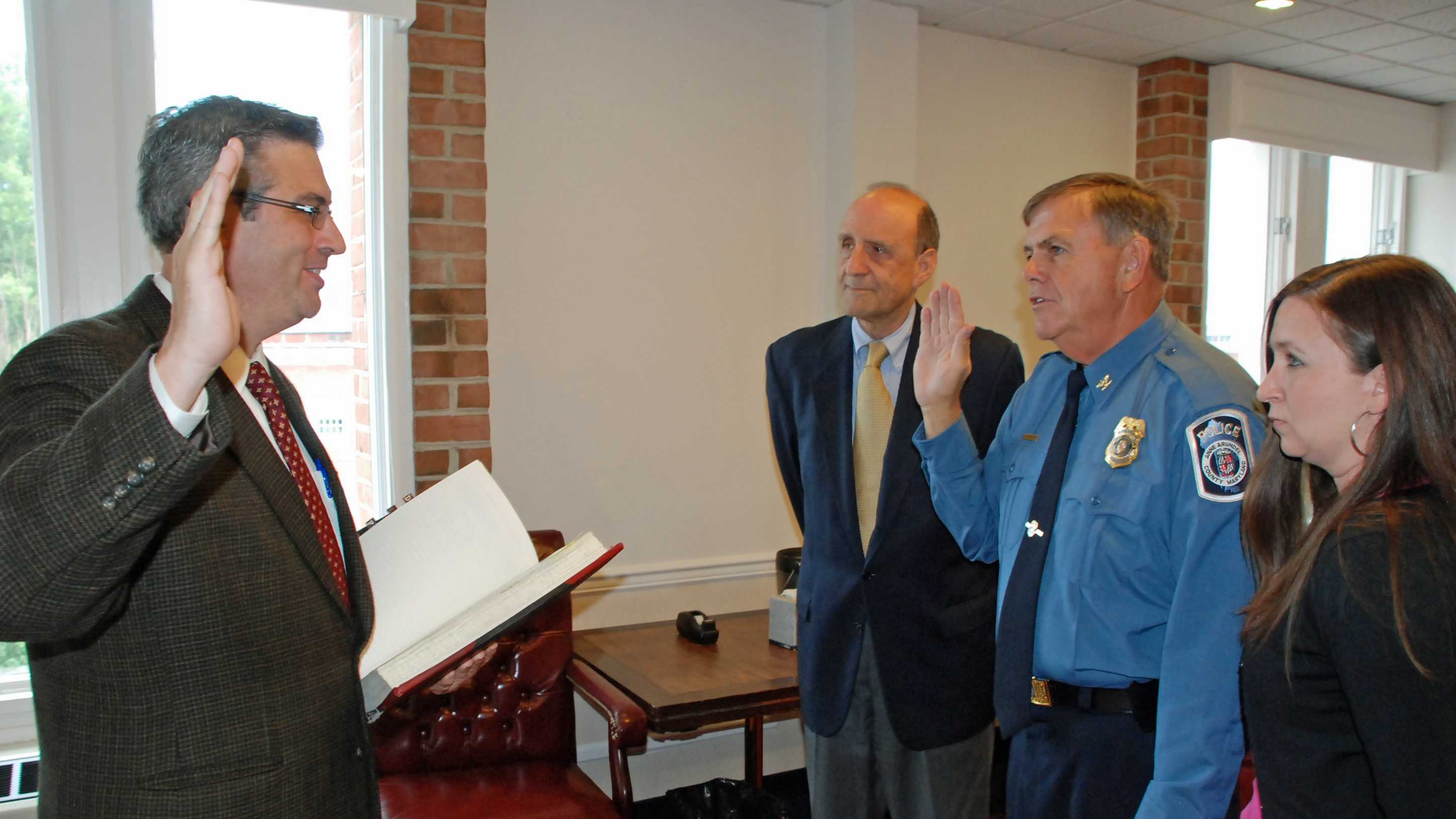 New Anne Arundel County Police Chief Larry W. Tolliver was sworn in Wednesday.