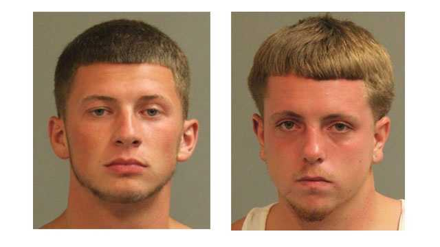 Police said Brandon Lee Vaughn, 19, of Mount Airy, and Jeffrey Scott O'Neill Jr., 20, of Glen Burnie, were arrested and charged with robbery and related offenses. (Pictured left to right).