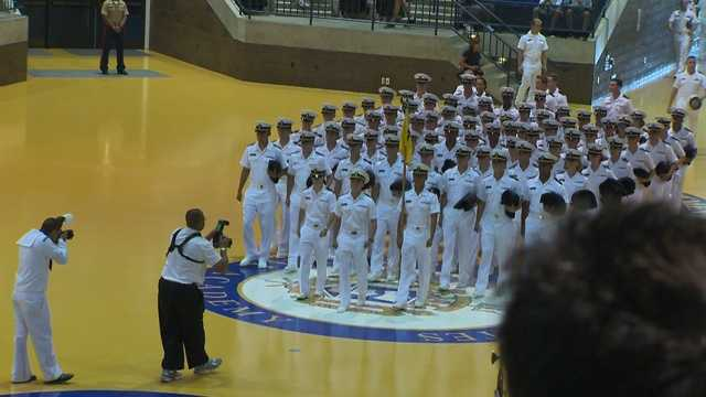 Some 1,200 plebes who comprise the Class of 2016 shared a meal with their families at noon Friday.