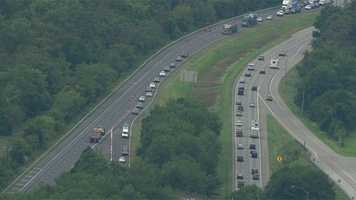 Eastbound traffic was diverted onto U.S. Route 40 at exit 12 to avoid a 6-mile stretch of I-70.