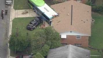 Officials say about 10 to 15 people were on the bus. Only minor injuries were reported.