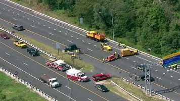 The southbound lanes of Interstate 895 were closed around noon Tuesday due to a crash.