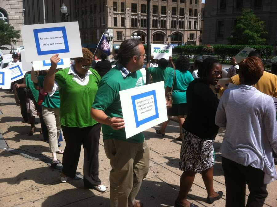 The employees were protesting those conditions in front of the courthouse around noon Wednesday.