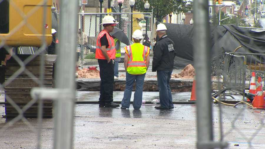 On East Monument Street in Baltimore, two homes had to be evacuated after a sinkhole expanded even wider.