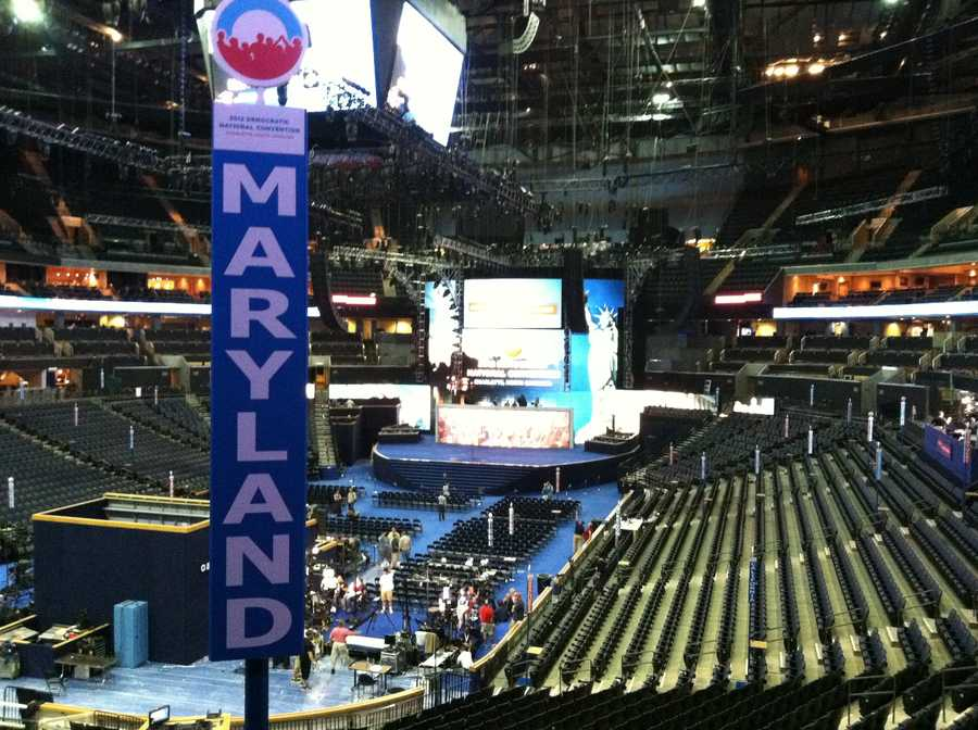 Maryland has a high-up view of the stage.