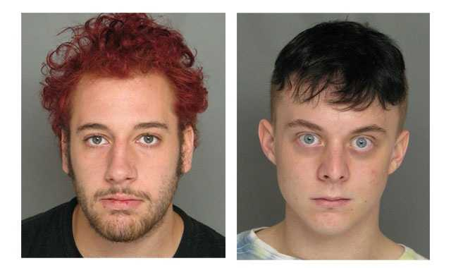 Police said Justin Trionfo, 19, (pictured left) was arrested and charged with having a controlled dangerous substance with the intent to distribute. Police said 18-year-old Kahrl Retti (pictured right) was also taken into custody and charged with two counts of possessions to distribute a controlled substance.