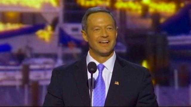 Gov. Martin O'Malley gives his speech at the Democratic National Convention.