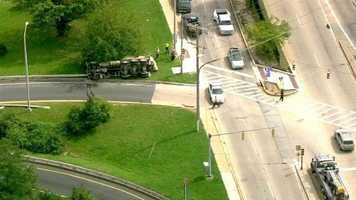 Sky Team 11 Capt. Roy Taylor said the truck overturned shortly before noon Wednesday on the on-ramp to I-83 north from eastbound Cold Spring Lane.
