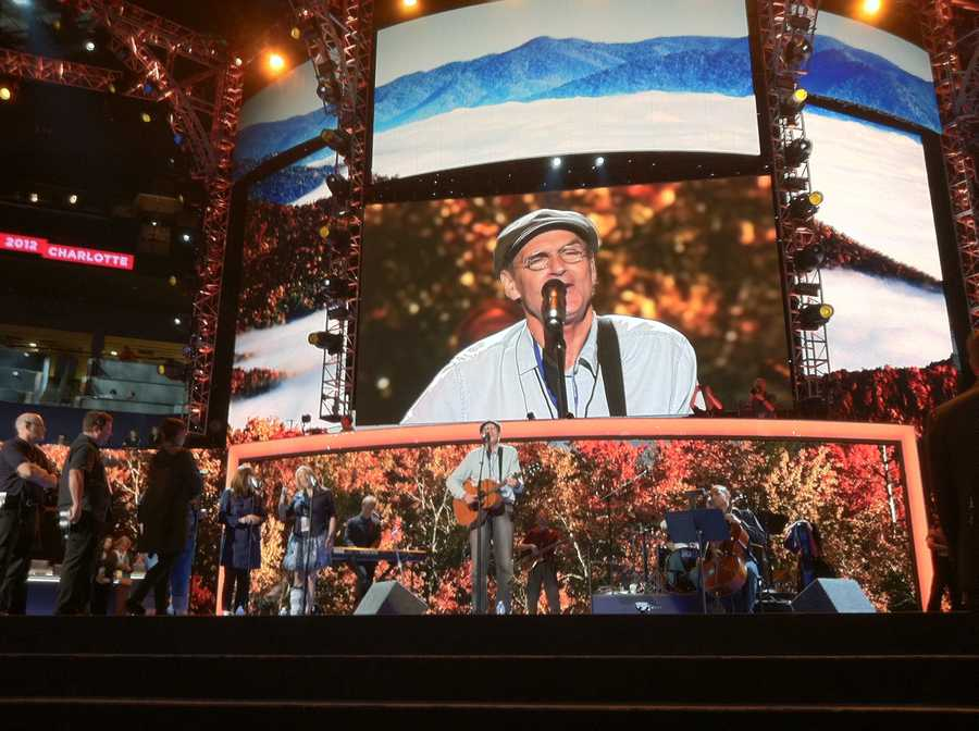 James Taylor helps with a sound check on the last day of the DNC.