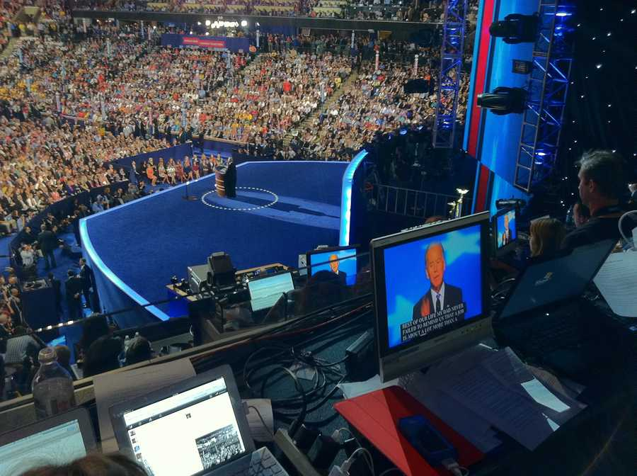 A view from the press box during Vice President Joe Biden's address.