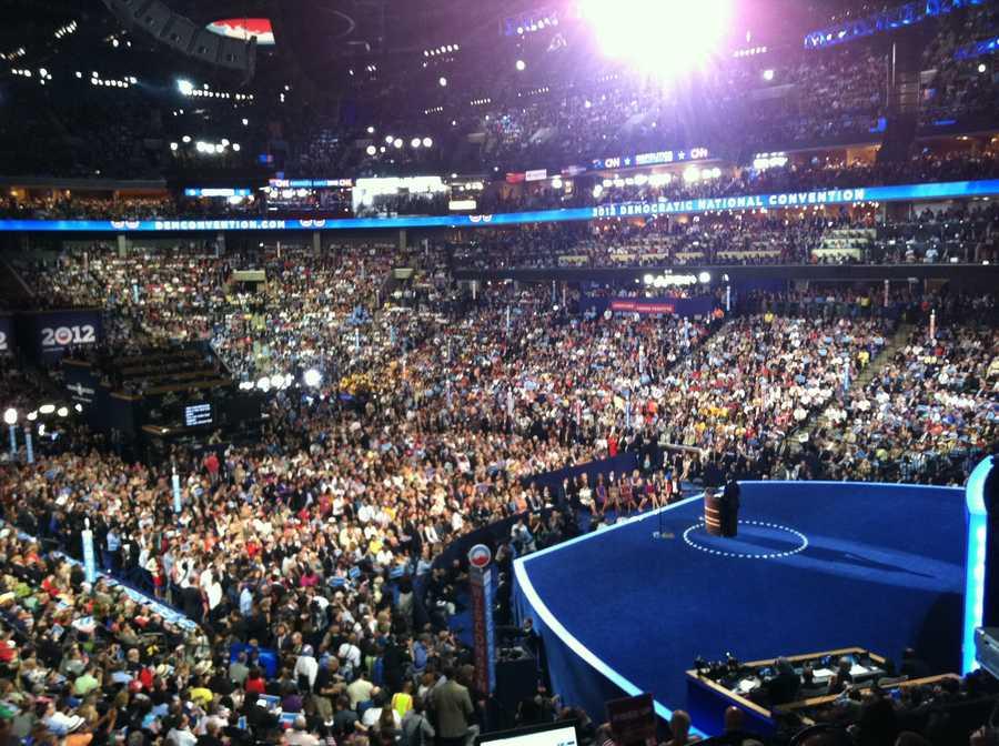 President Barack Obama speaks before a packed arena.