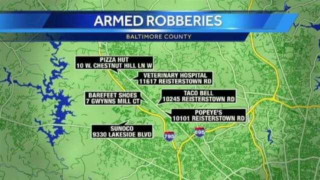 Police say they're investigating a rash of robberies in the Reisterstown and Owings Mills areas.
