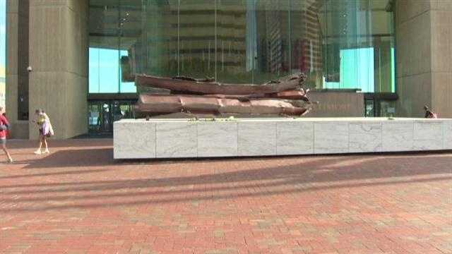 The Baltimore memorial consists of pieces of steel from the World Trade Center in New York City.