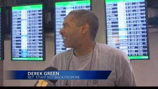 Ret. Staff Sgt. Derek Green says it's surprising and emotional to get such a greeting.
