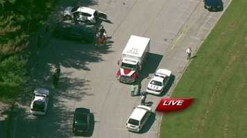 SkyTeam 11 reports over Catonsville High School, where a shooting victim made his way to a parking lot. The shooting DID NOT take place on campus.