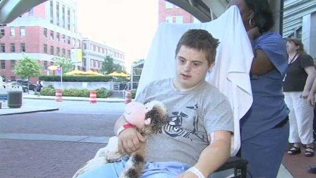 Daniel Borowy gets released from the hospital after being shot at Perry Hall High School two weeks before.