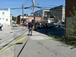 Alley off Frederick and Bloomsbury streets where the shooting took place in Catonsville at about 11:30 a.m. Wednesday.