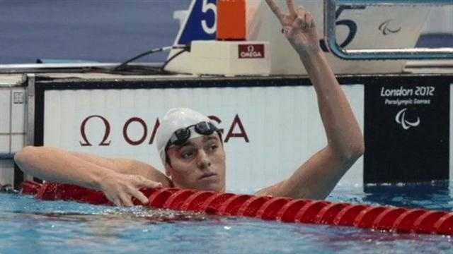 Ian Silverman wins the gold medal in the 400m freestyle swim at the Paralympic games.