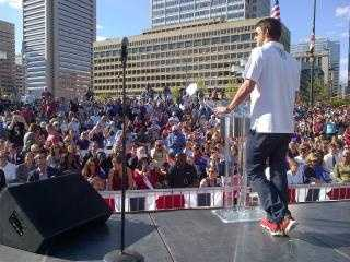 Gov. Martin O'Malley shows the perspective from the stage while Michael Phelps speaks.