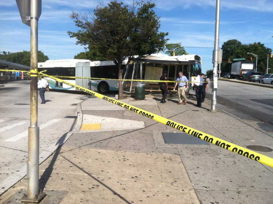 Officials were called to the intersection of Liberty Heights Avenue and Reisterstown Road around 9:30 a.m. Thursday after getting reports of a bus crashing into the shelter.