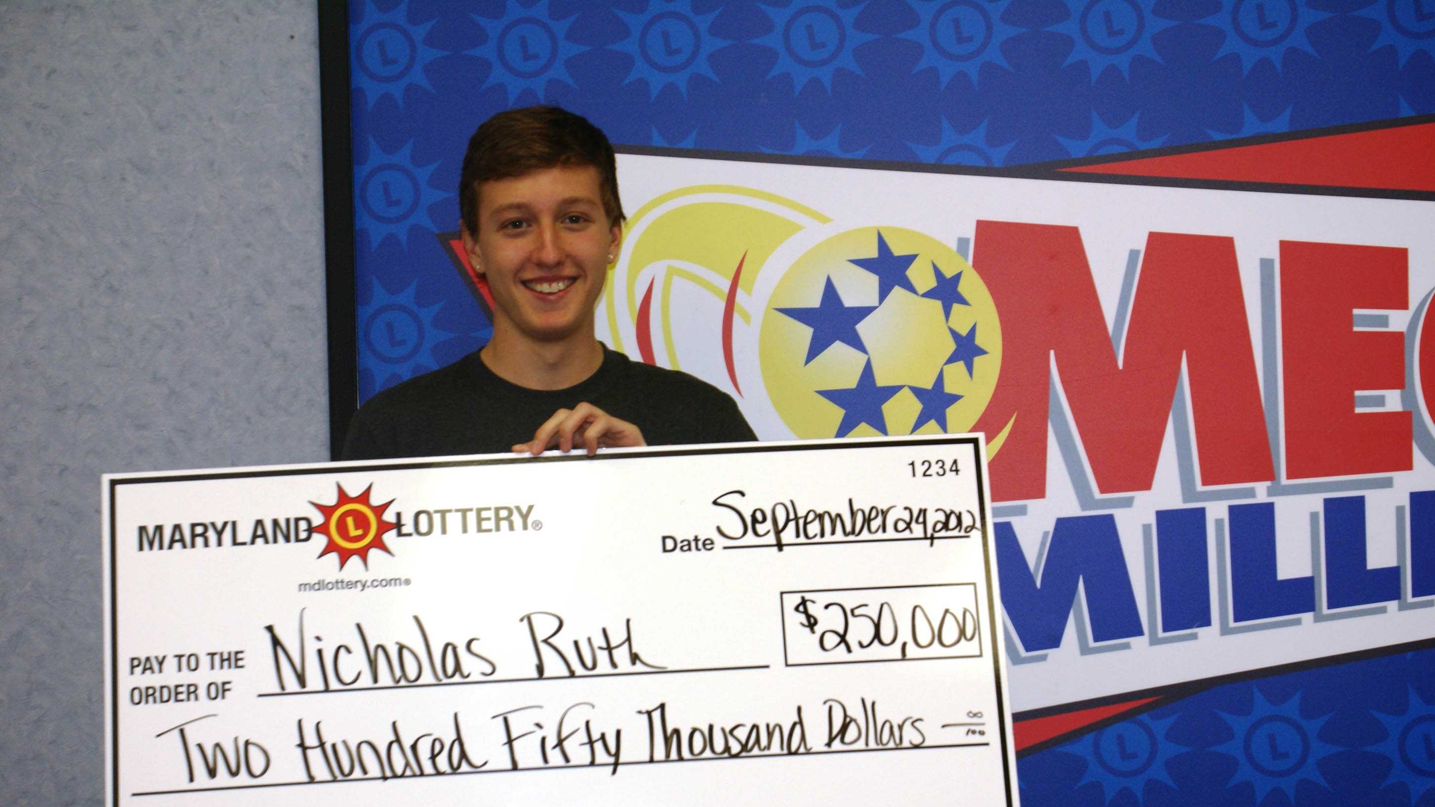 Nick Ruth wins a $250,000 Mega Millions prize from the Maryland Lottery.