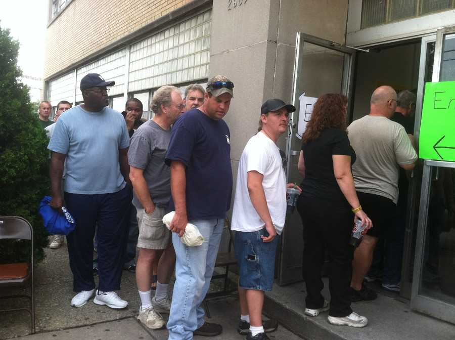 The food bank said it wanted to draw attention to this particular distribution because the 2,000 workers who were laid off now represent the new face of hunger in America.