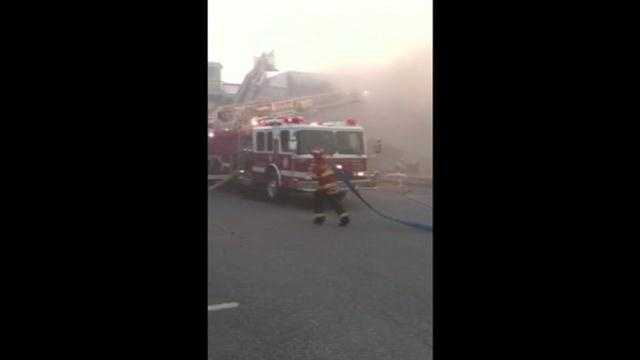 Firefighters move quickly to extinguish a large fire in Ocean City.