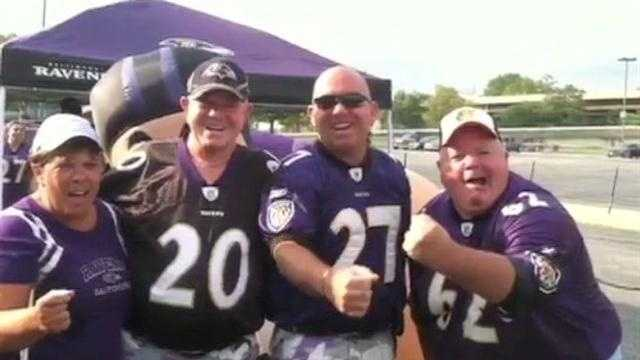 Ravens tailgaters tell Jennifer Franciotti they're excited for the game -- with real refs.