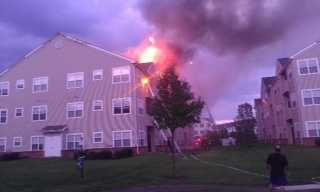 The blaze broke out around 6 p.m. in the 2000 block of Military Place in Odenton.