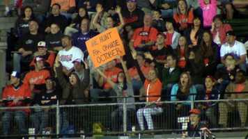 A very clever sign. Wonder if Mr. Clancy saw it from his box.