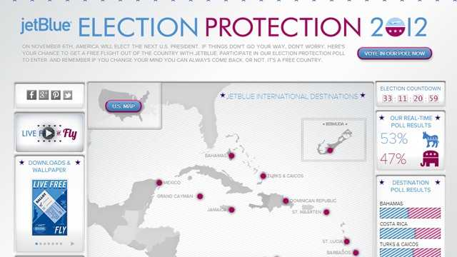 jetBlue Election Protection contest website screengrab