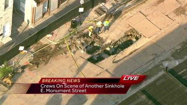 SkyTeam 11 takes you to a street in downtown Baltimore plagued by sinkholes.