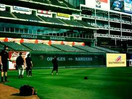 The O's take to the Texas field Friday, hours before they would face off against the Rangers.