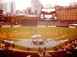 The field prior to Game 1 of the ALDS -- and just before the tarp came out.