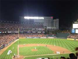 But then, the New York Yankees break a 2-run tie by scoring five times in the ninth inning to beat the Orioles in a rain-delayed first game of the American League Division Series.