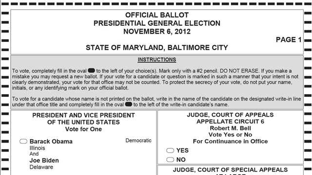 Baltimore City sample ballot pic