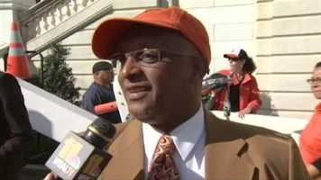 City Council President Jack Young wears his Orioles orange in anticipation of Game 3.