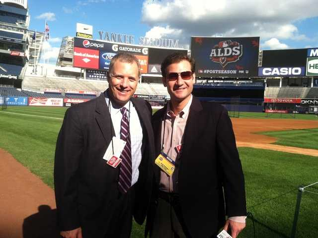 WBAL-TV 11's Pete Gilbert and WBAL Radio's Brett Hollander prepare to cover Game 3 of the American League Division Series.