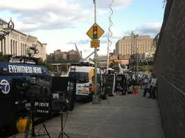 WBAL-TV 11 News photographer Bob Lyon and the WBAL-TV 11 satellite truck arrives in New York ...