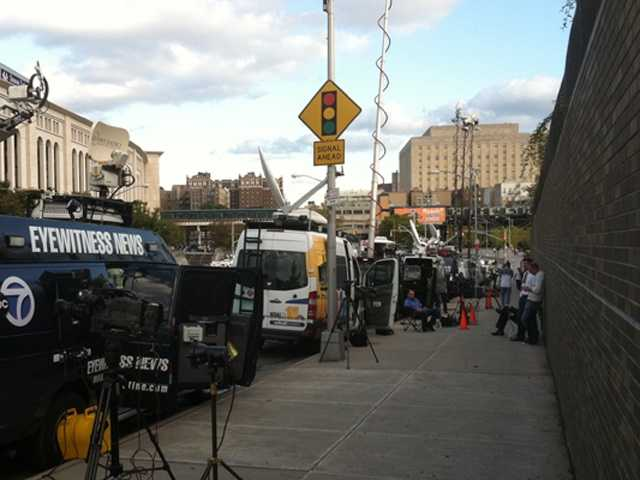 WBAL-TV 11 News photographer Bob Lyon and the WBAL-TV 11 satellite truck arrives in New York ...