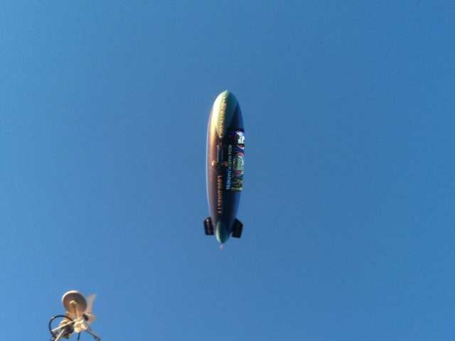 The DirecTV blimp flies over Pete's liveshot ahead of Game 4.