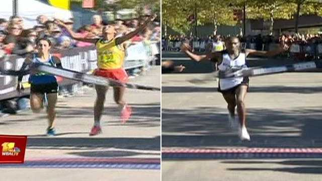 Elfneshe Yado, 25, of Ethiopia, 2:38:46, (left) | Stephen Muange, 31, of Kenya, 2:13:08, (right)
