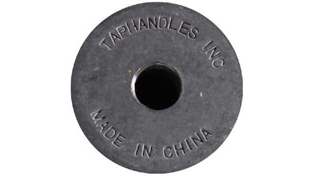 """Taphandles Inc."" and ""Made in China"" are engraved on the gray metal base of the tap handles under recall."
