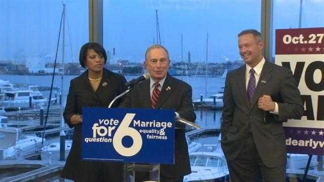 New York City Mayor Michael Bloomberg visits Maryland to share his perspective on same-sex marriage, made legal in New York last year.