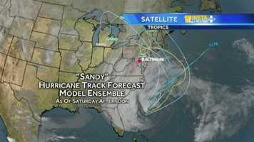 The computer models may still show differing paths, but meteorologists are generally looking at an area from the Delmarva Peninsula to New Jersey for Hurricane Sandy's landfall.