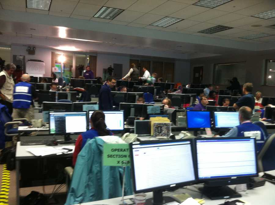 Maryland Emergency Management Agency offices are busy Monday morning.