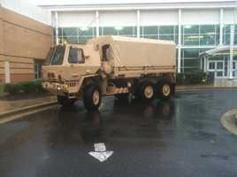 This Maryland National Guard transport vehicle, which is stationed at Kent Island High School, can go through 3 feet of water and carry 44 people, 11 News reporter David Collins says.